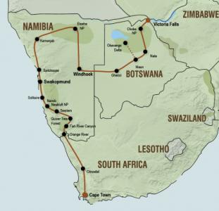 Kampeersafari van Victoria Falls naar Kaapstad (23 dagen)