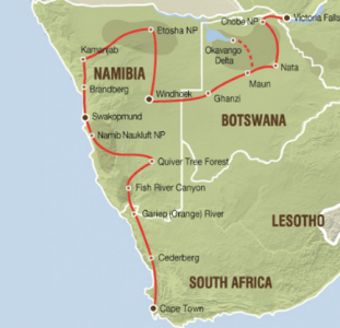 Comfortabele lodgesafari van Victoria Falls naar Kaapstad (23 dagen)