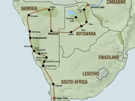 Kampeersafari van Kaapstad naar Victoria Falls (23 dagen)