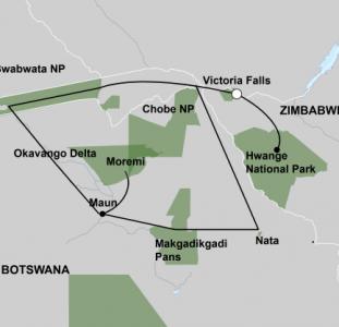 De Wildernis van Botswana & Zimbabwe (17 dagen)