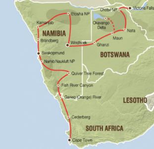 Comfortabele lodgesafari van Kaapstad naar Victoria Falls (23 dagen)