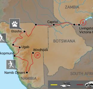 Namibië & Zambezi (17 dagen)