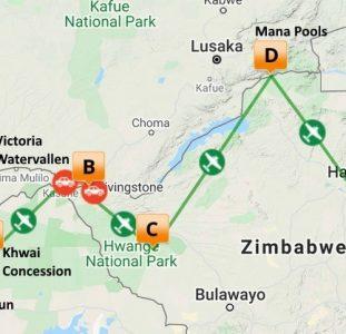 Comfortabel langs de lodges van Botswana, Zambia en Zimbabwe (14 dagen)